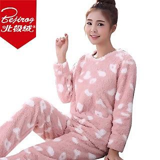 可爱珊瑚绒睡衣套装(多色选)