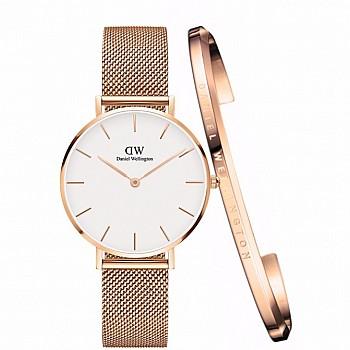 Daniel 圣诞节好礼:Wellington DW00100163 女士时装手表+玫瑰金开口手镯