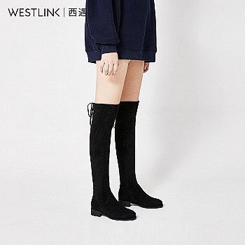 双11预售: westlink 西遇 21883623 过膝粗跟长靴