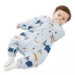 京东PLUS会员: Wellber 威尔贝鲁 婴儿分腿加厚棉睡袋 厚棉大象丛林 75cm *2件 +凑单品
