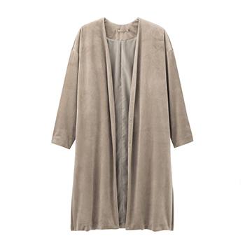 天猫GU 女装丝绒长款大衣