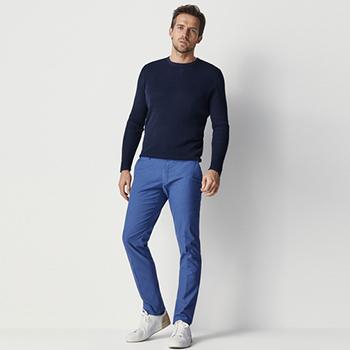 天猫Massimo Dutti  男装修身版棉质纹理休闲长裤